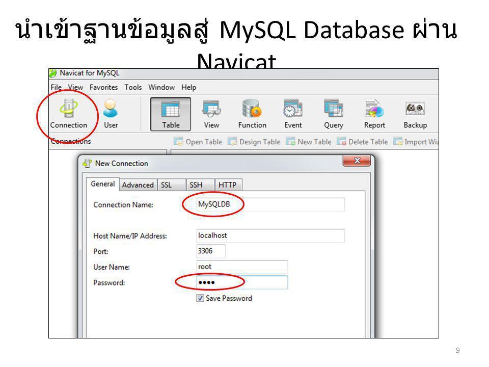 นำเข้าฐานข้อมูลสู่ MySQL Database ผ่าน Navicat