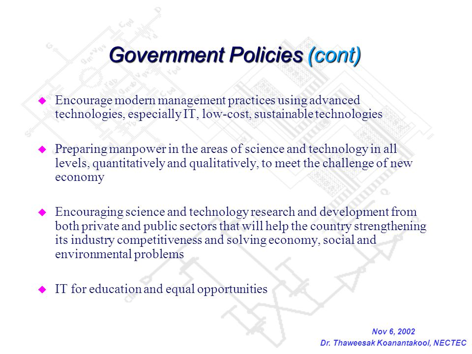 Government Policies (cont)