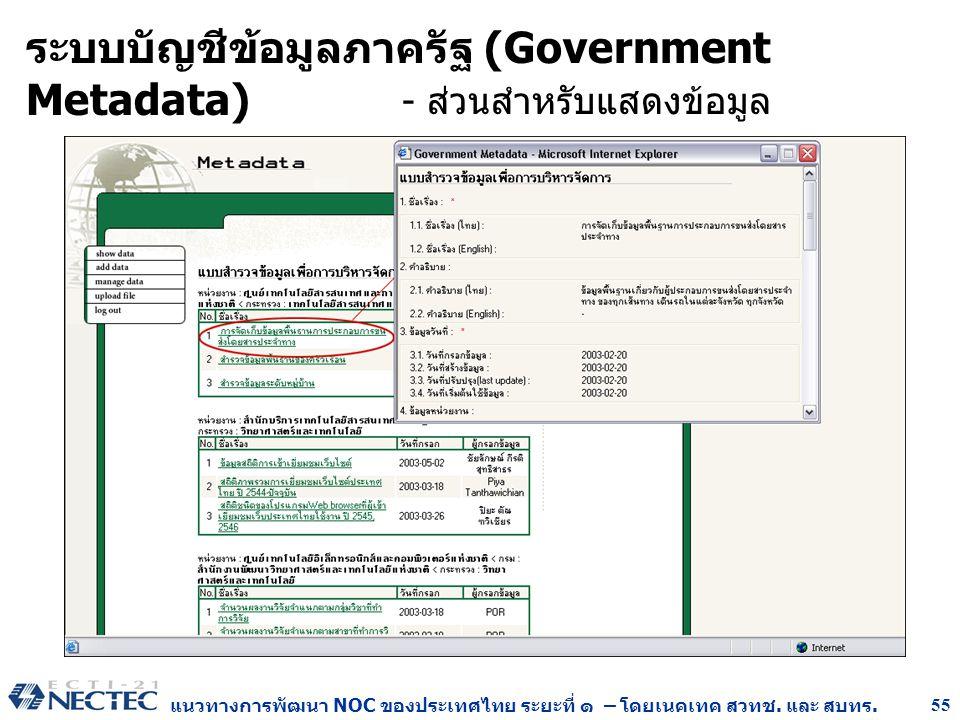 ระบบบัญชีข้อมูลภาครัฐ (Government Metadata)