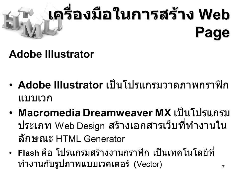 เครื่องมือในการสร้าง Web Page