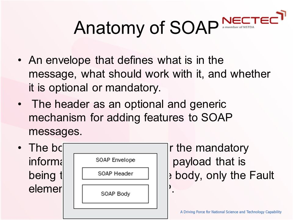 Anatomy of SOAP An envelope that defines what is in the message, what should work with it, and whether it is optional or mandatory.