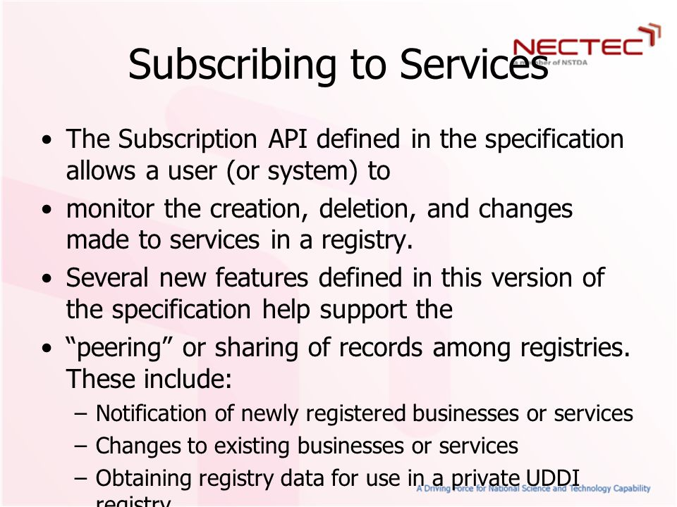 Subscribing to Services