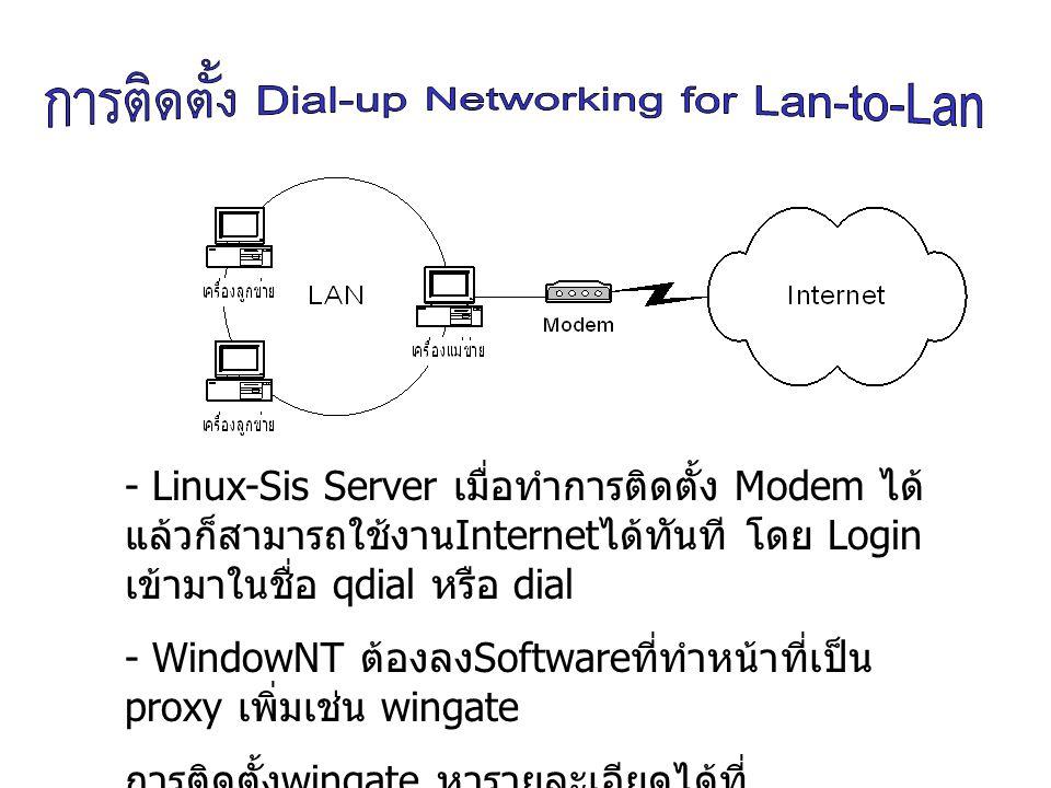 - Linux-Sis Server เมื่อทำการติดตั้ง Modem ได้แล้วก็สามารถใช้งานInternetได้ทันที โดย Login เข้ามาในชื่อ qdial หรือ dial