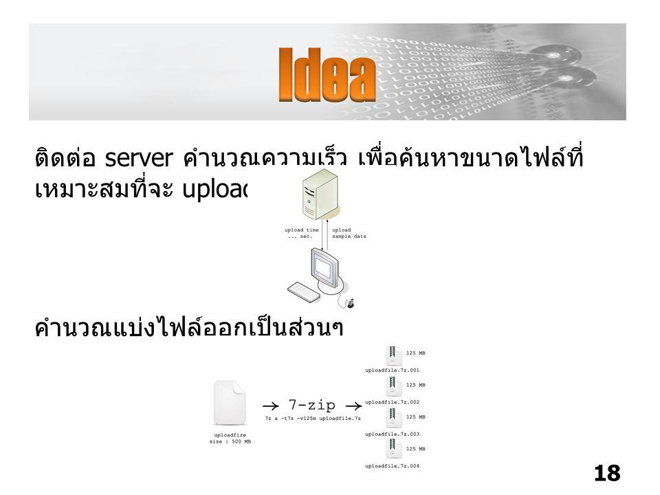 Idea ติดต่อ server คำนวณความเร็ว เพื่อค้นหาขนาดไฟล์ที่เหมาะสมที่จะ upload สำเร็จ.