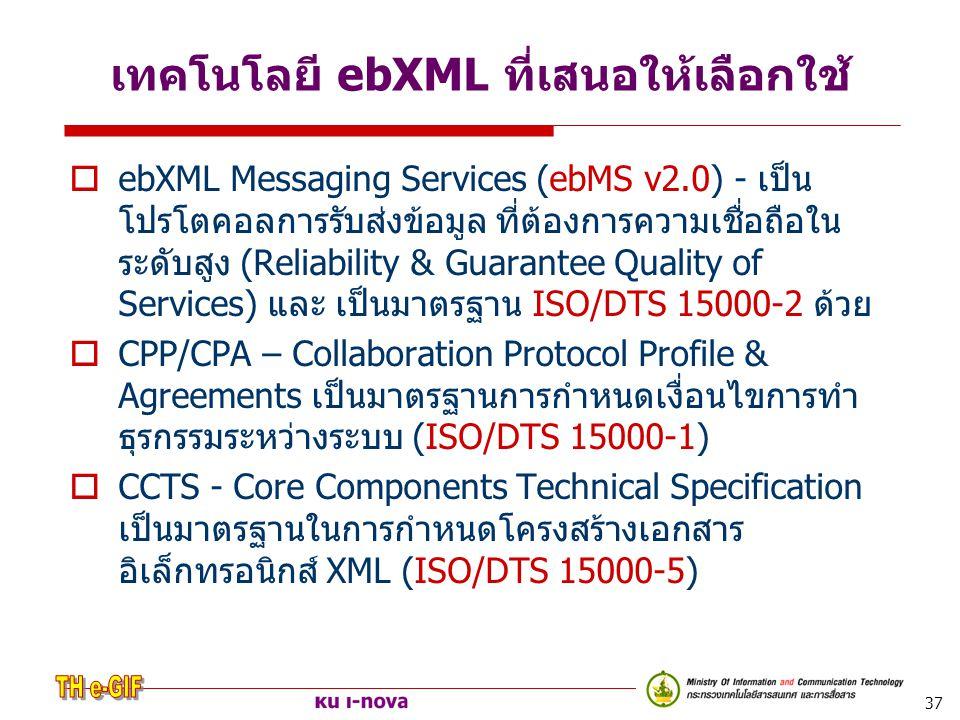 เทคโนโลยี ebXML ที่เสนอให้เลือกใช้