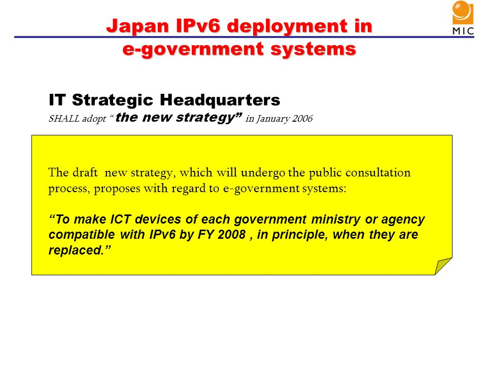 Japan IPv6 deployment in e-government systems