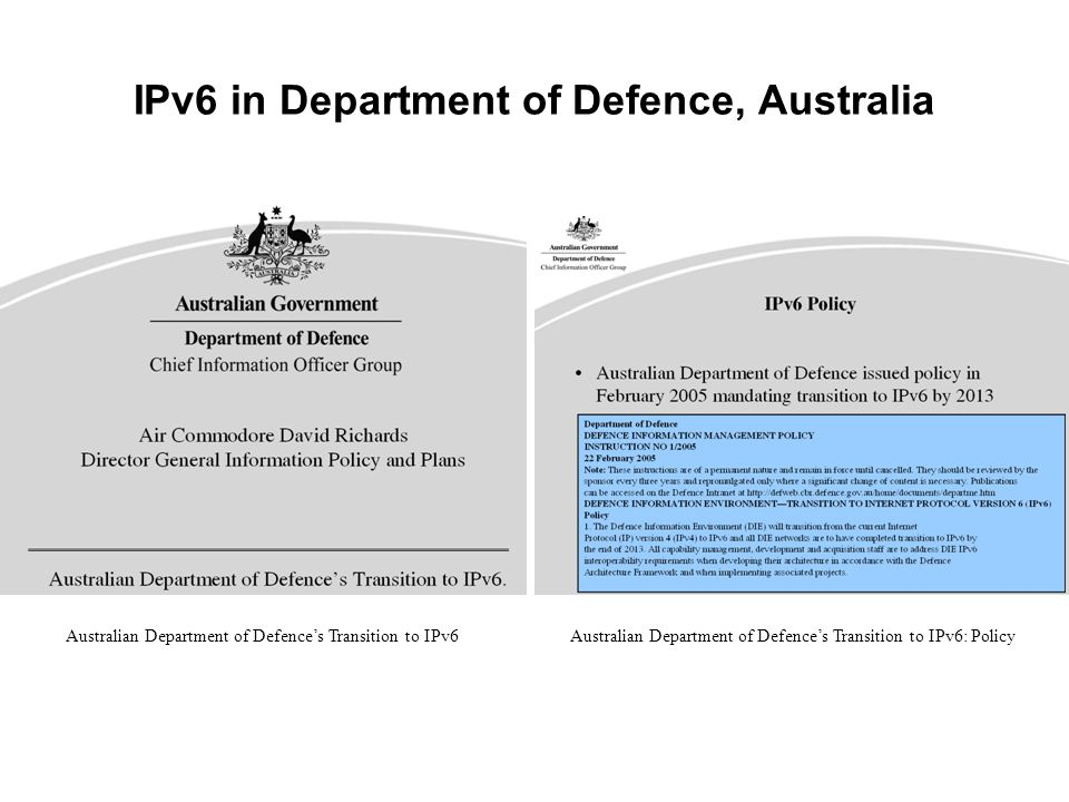 IPv6 in Department of Defence, Australia