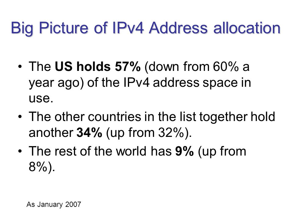 Big Picture of IPv4 Address allocation