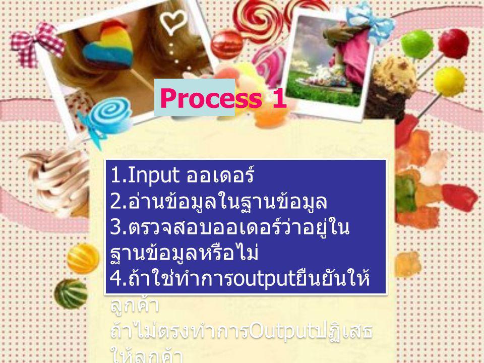 Process 1 1.Input ออเดอร์ 2.อ่านข้อมูลในฐานข้อมูล