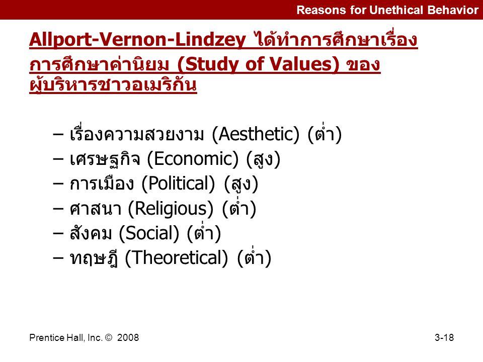 Allport-Vernon-Lindzey ได้ทำการศึกษาเรื่อง