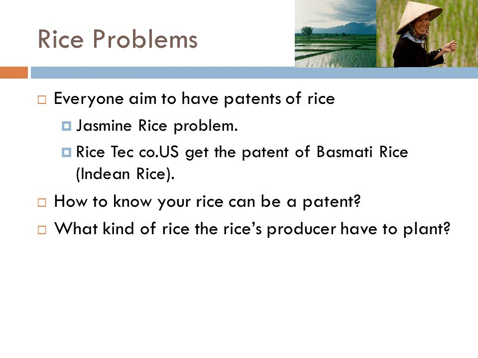 Rice Problems Everyone aim to have patents of rice