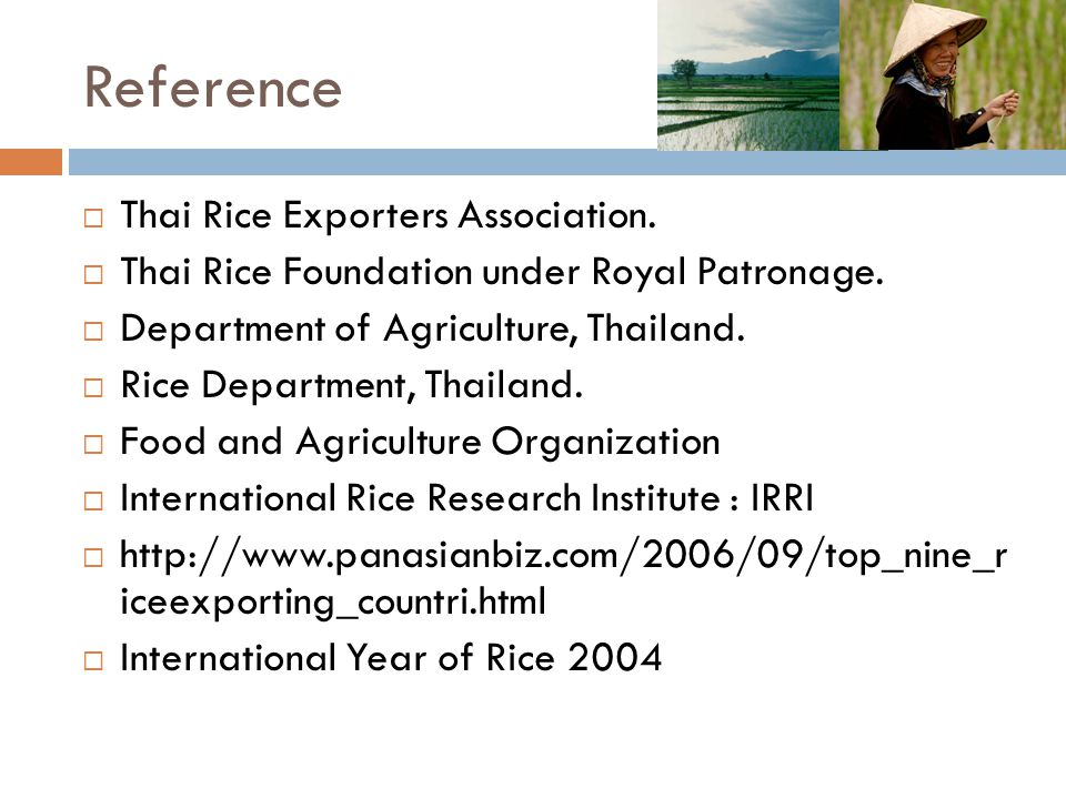 Reference Thai Rice Exporters Association.