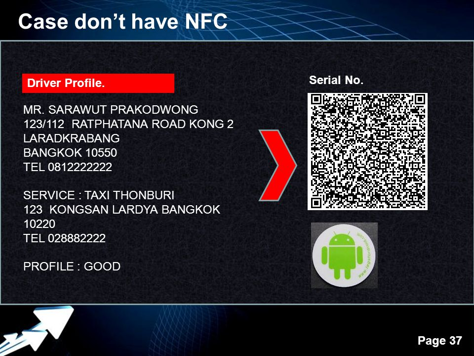 Case don't have NFC Serial No. Driver Profile. MR. SARAWUT PRAKODWONG