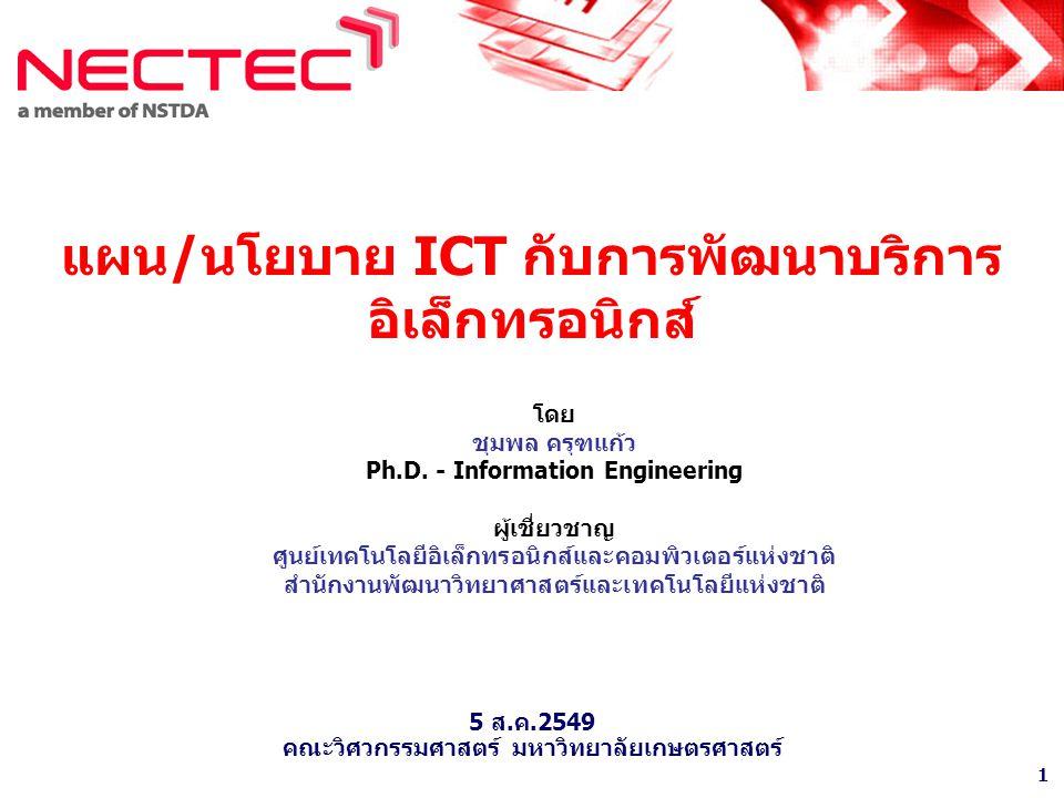 แผน/นโยบาย ICT กับการพัฒนาบริการอิเล็กทรอนิกส์