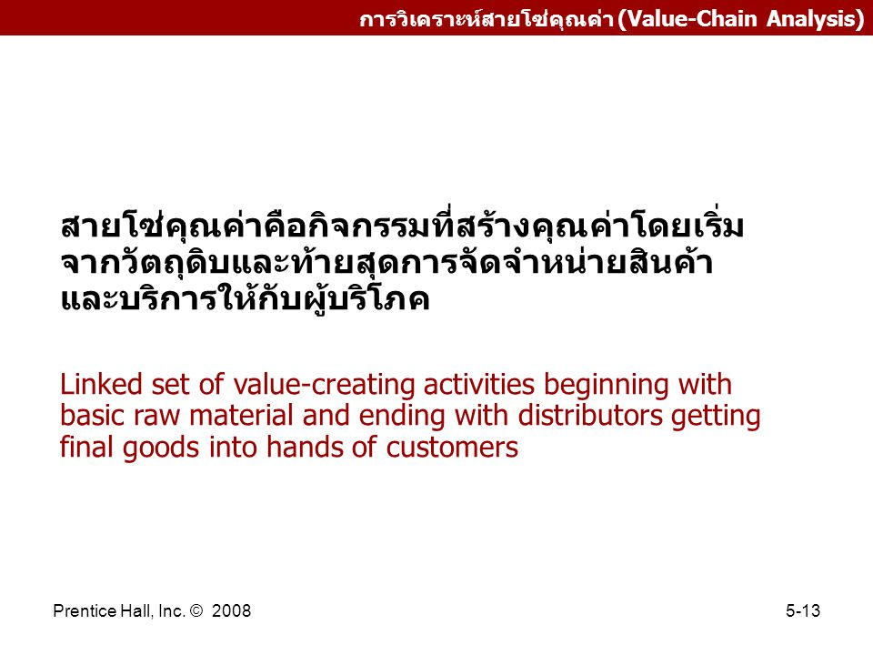 การวิเคราะห์สายโซ่คุณค่า (Value-Chain Analysis)