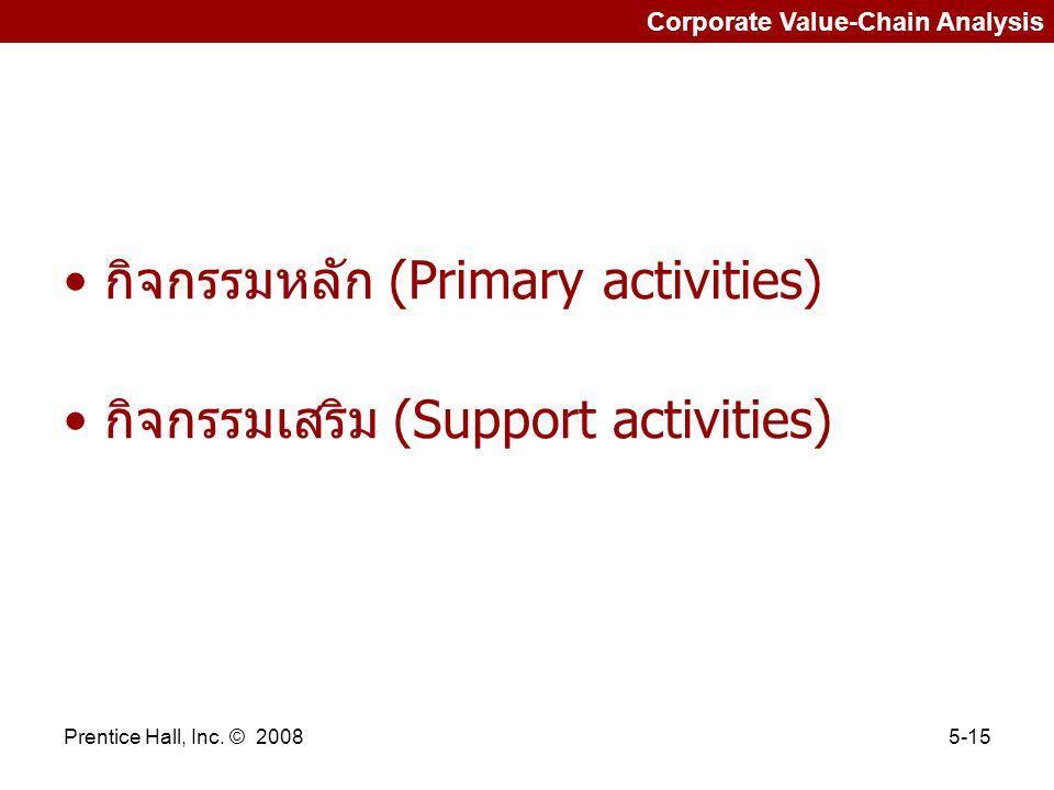 กิจกรรมหลัก (Primary activities) กิจกรรมเสริม (Support activities)