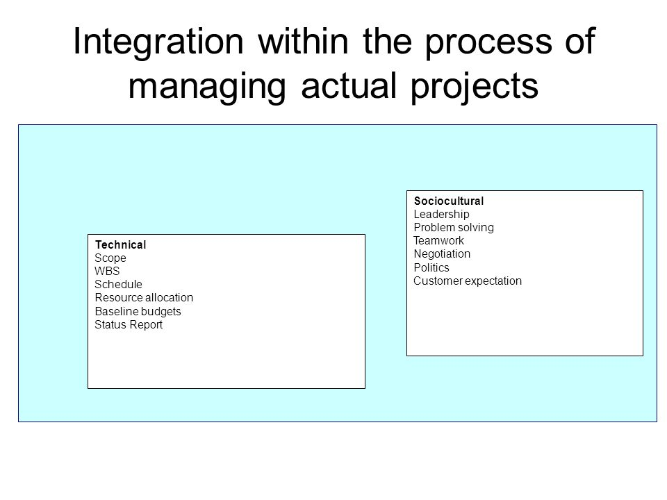 Integration within the process of managing actual projects