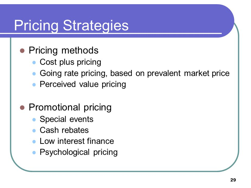 Pricing Strategies Pricing methods Promotional pricing