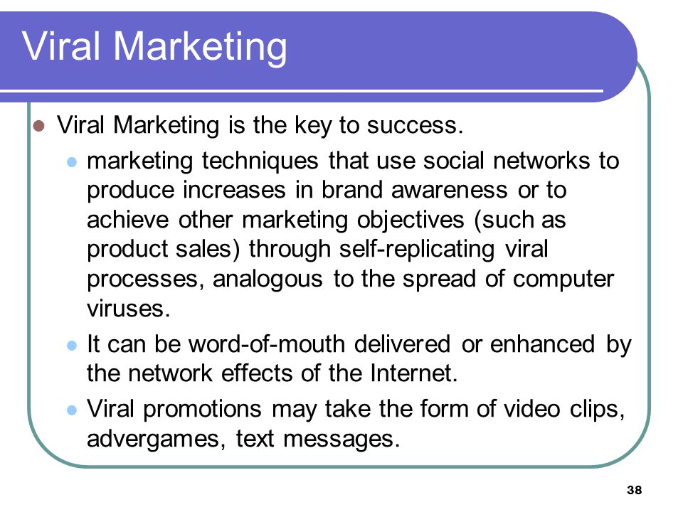 Viral Marketing Viral Marketing is the key to success.