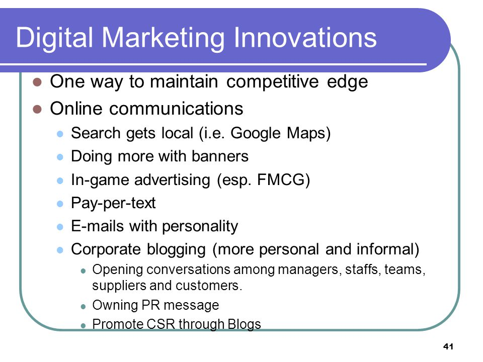 Digital Marketing Innovations