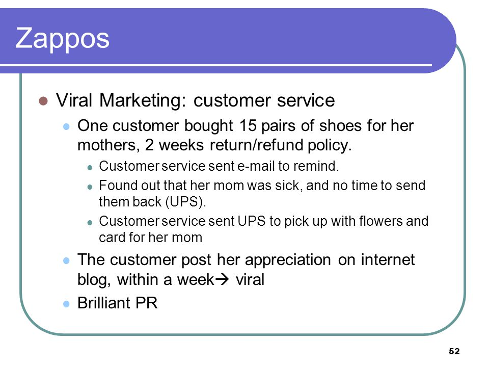 Zappos Viral Marketing: customer service