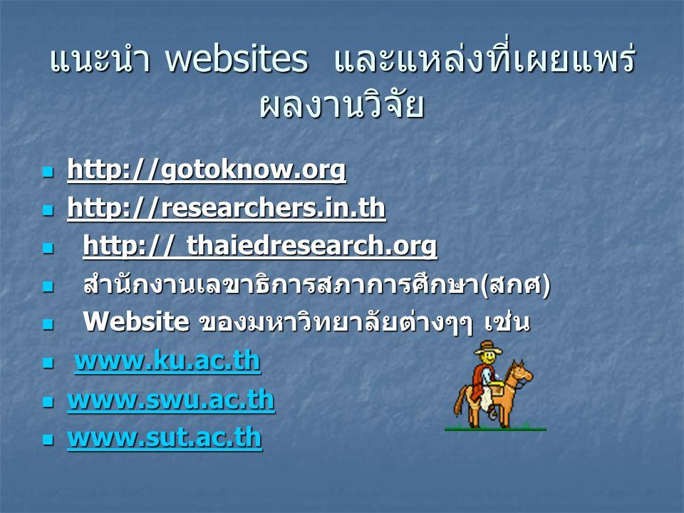 แนะนำ websites และแหล่งที่เผยแพร่ผลงานวิจัย