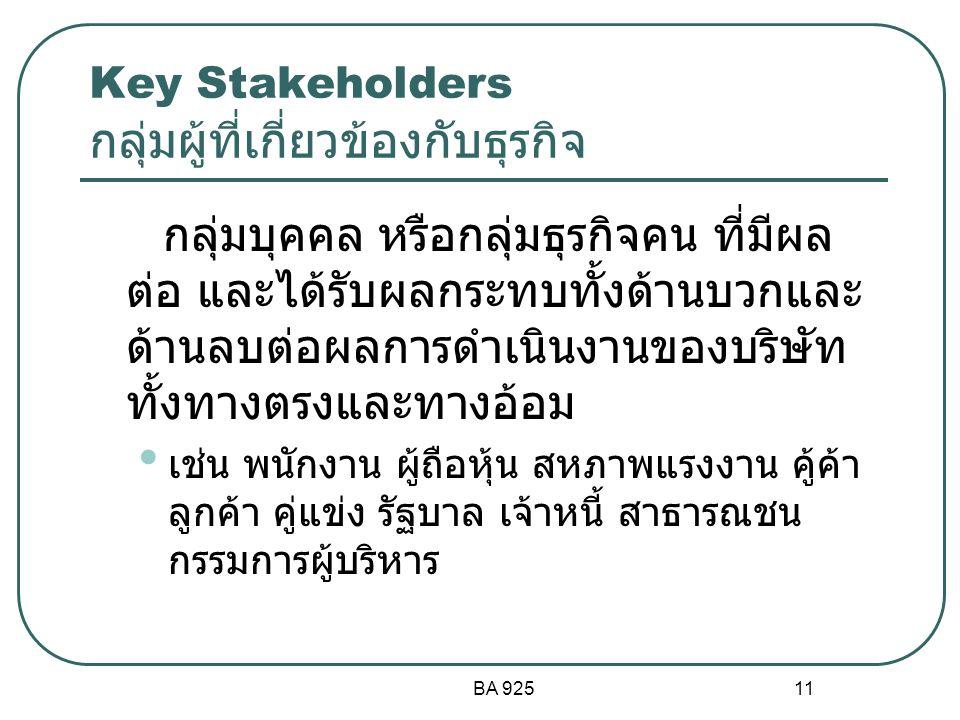 Key Stakeholders กลุ่มผู้ที่เกี่ยวข้องกับธุรกิจ
