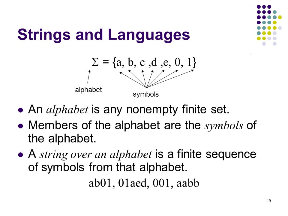 Strings and Languages  = {a, b, c ,d ,e, 0, 1}