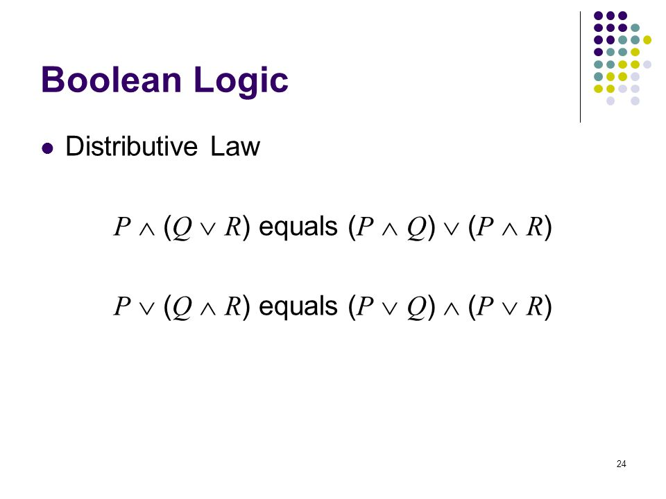 Boolean Logic Distributive Law P  (Q  R) equals (P  Q)  (P  R)