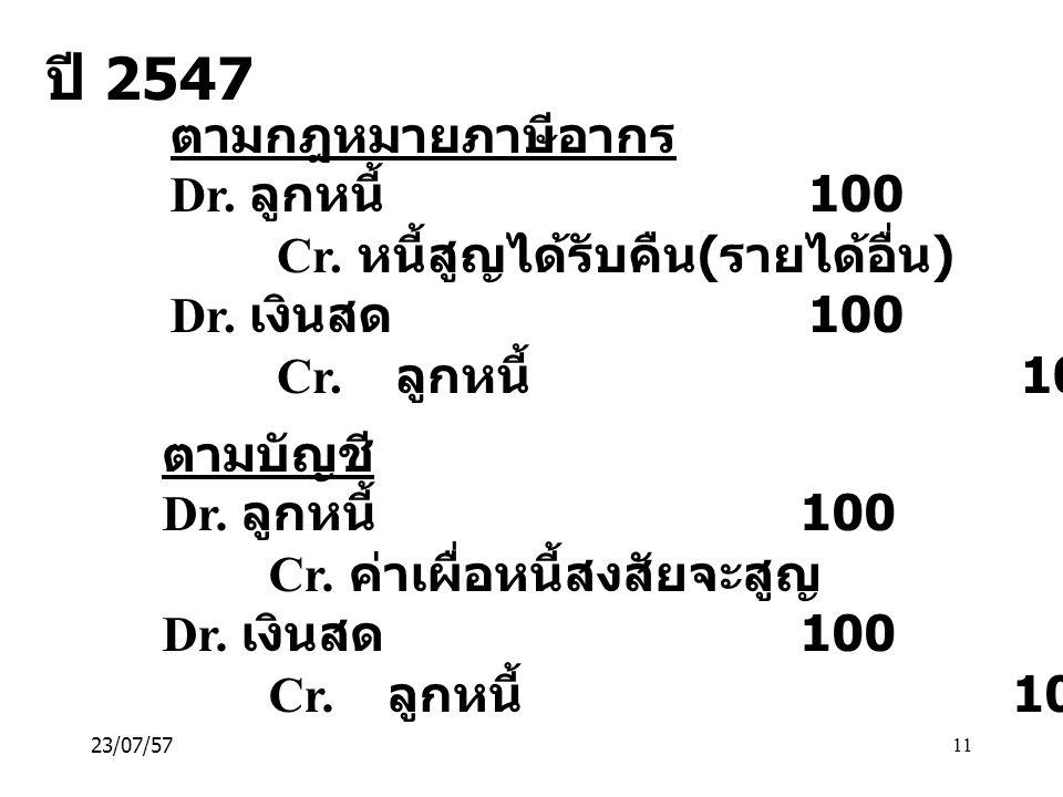 ปี 2547 ตามกฎหมายภาษีอากร Dr. ลูกหนี้ 100