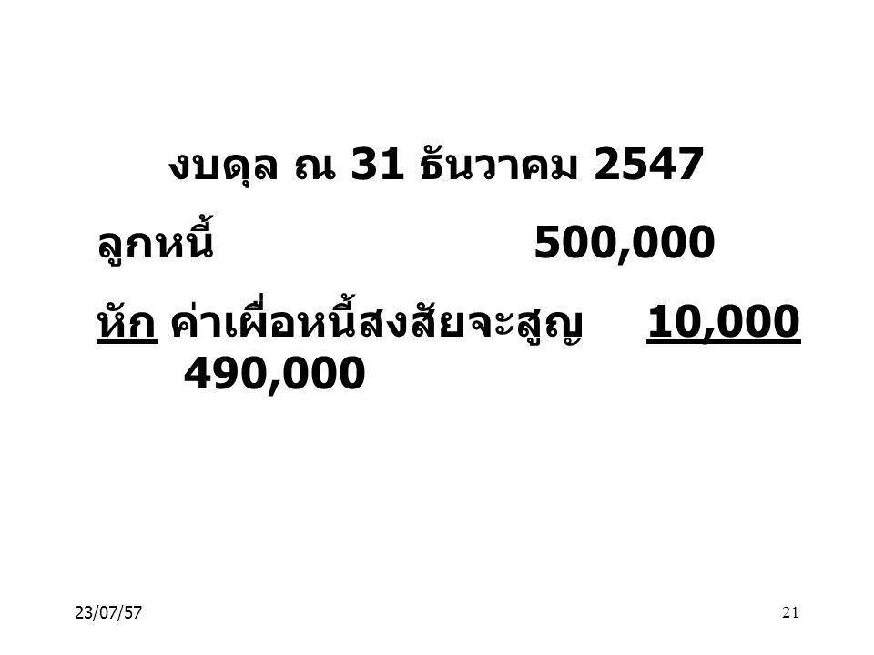 หัก ค่าเผื่อหนี้สงสัยจะสูญ 10,000 490,000
