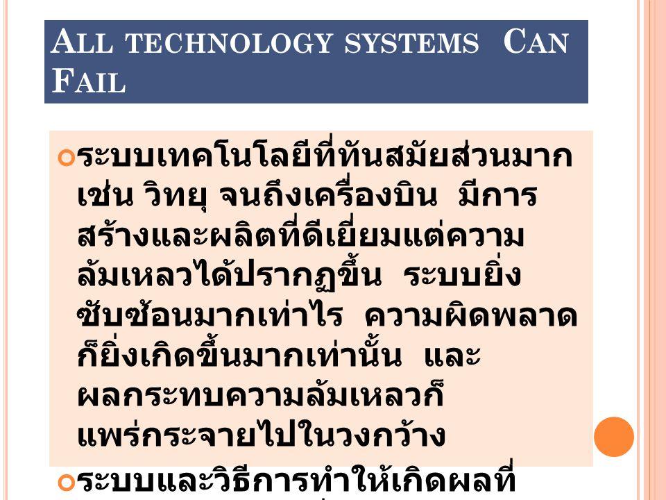 All technology systems Can Fail