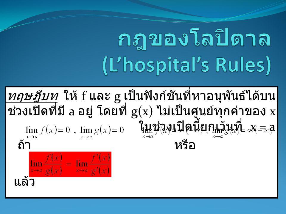 กฎของโลปิตาล (L'hospital's Rules)