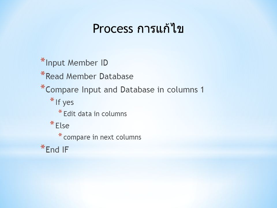 Process การแก้ไข Input Member ID Read Member Database