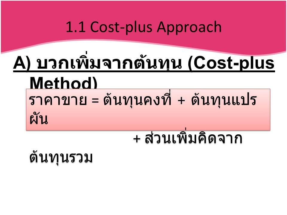 A) บวกเพิ่มจากต้นทุน (Cost-plus Method)