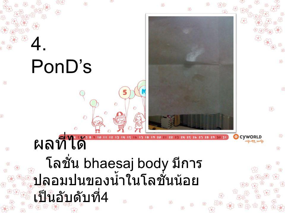 4. PonD's ผลที่ได้ โลชั่น bhaesaj body มีการปลอมปนของน้ำในโลชั่นน้อยเป็นอับดับที่4