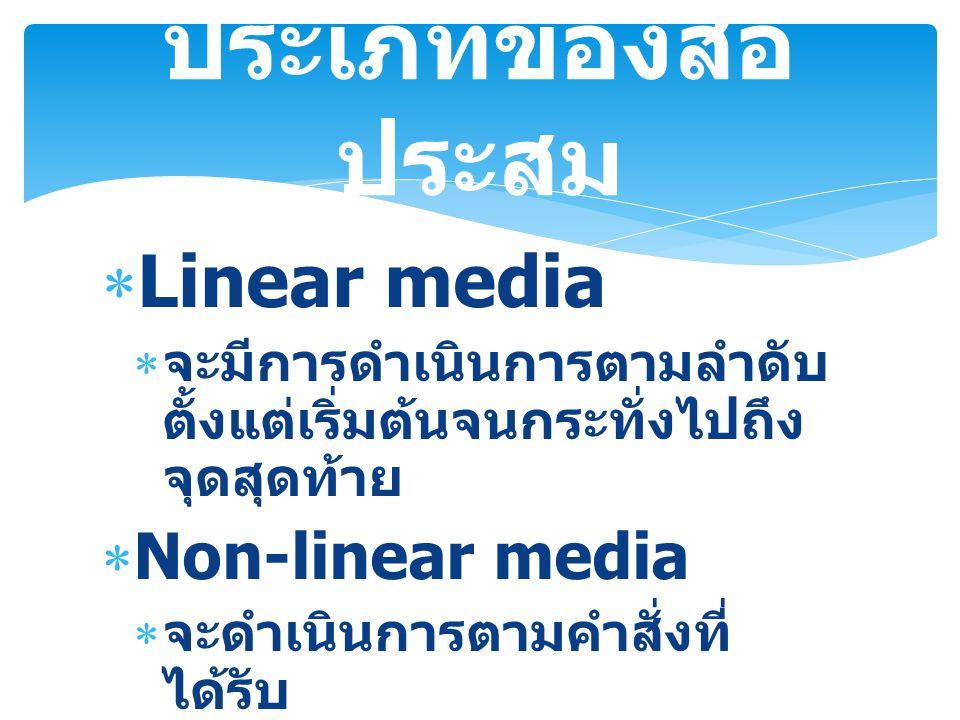 ประเภทของสื่อประสม Linear media Non-linear media