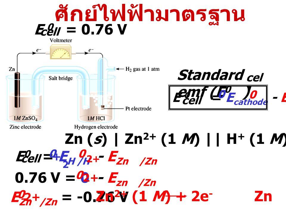 ศักย์ไฟฟ้ามาตรฐาน E 0 = 0.76 V Standard emf (E0 )