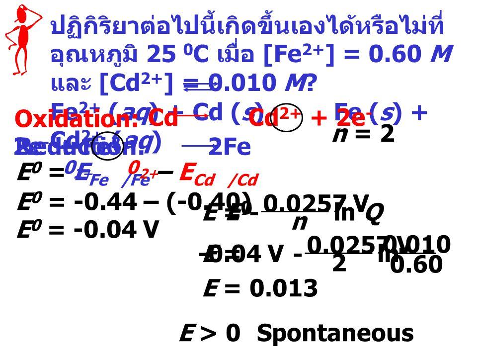 Fe2+ (aq) + Cd (s) Fe (s) + Cd2+ (aq)