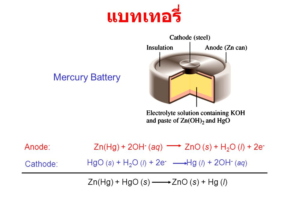 แบทเทอรี่ Mercury Battery Anode: