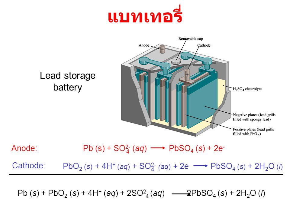 แบทเทอรี่ Lead storage battery Anode: