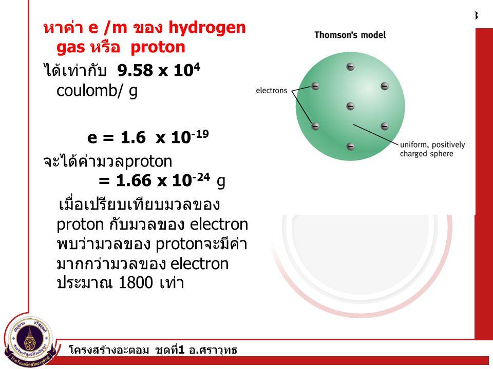 หาค่า e /m ของ hydrogen gas หรือ proton
