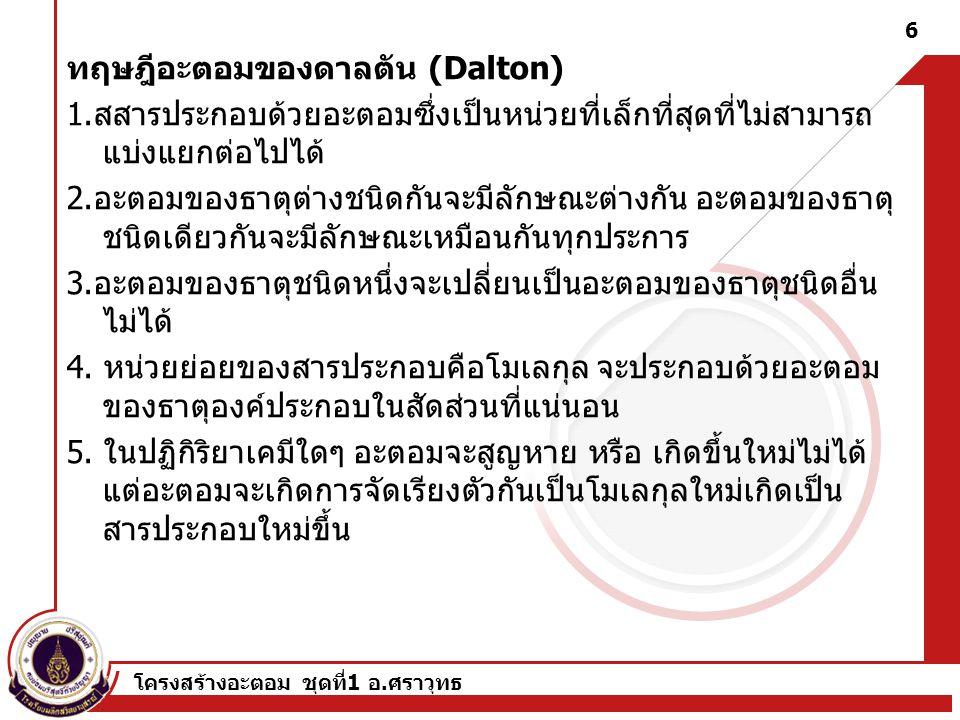 ทฤษฎีอะตอมของดาลตัน (Dalton)