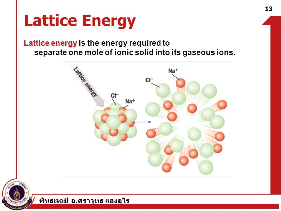 Lattice Energy Lattice energy is the energy required to separate one mole of ionic solid into its gaseous ions.