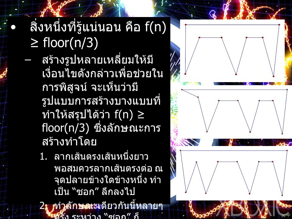 สิ่งหนึ่งที่รู้แน่นอน คือ f(n) ≥ floor(n/3)