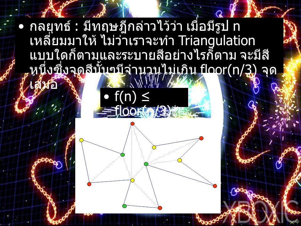 กลยุทธ์ : มีทฤษฎีกล่าวไว้ว่า เมื่อมีรูป n เหลี่ยมมาให้ ไม่ว่าเราจะทำ Triangulation แบบใดก็ตามและระบายสีอย่างไรก็ตาม จะมีสีหนึ่งซึ่งจุดสีนั้นๆมีจำนวนไม่เกิน floor(n/3) จุด เสมอ