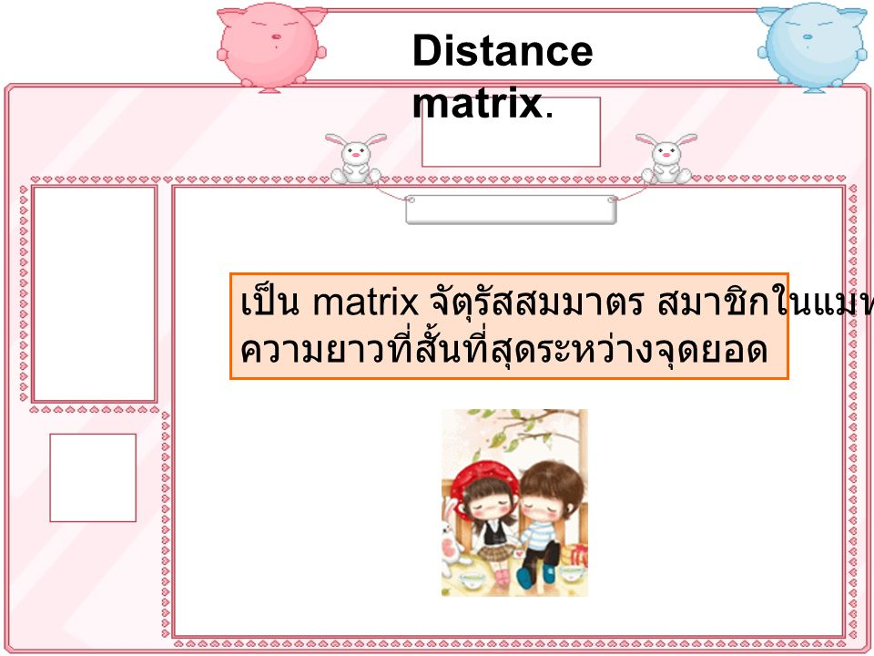 Distance matrix. เป็น matrix จัตุรัสสมมาตร สมาชิกในแมทริกซ์ คือ