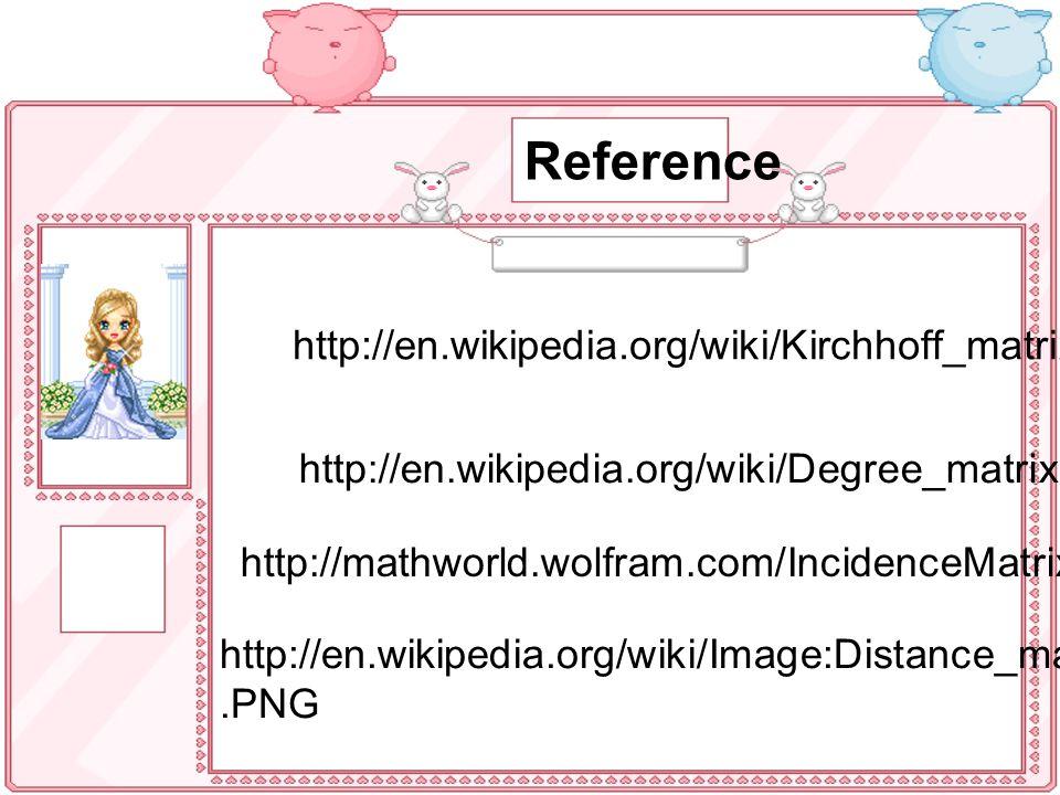 Reference http://en.wikipedia.org/wiki/Kirchhoff_matrix