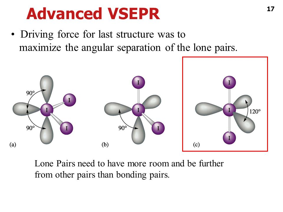 Advanced VSEPR • Driving force for last structure was to