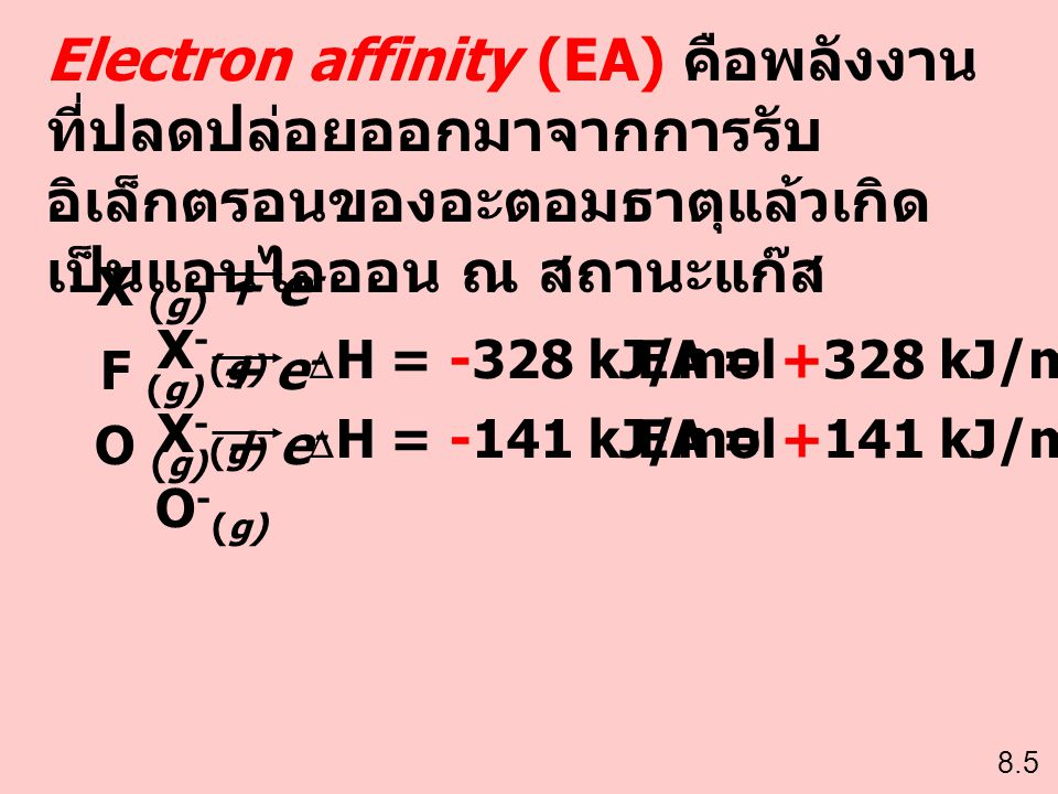 Electron affinity (EA) คือพลังงานที่ปลดปล่อยออกมาจากการรับอิเล็กตรอนของอะตอมธาตุแล้วเกิดเป็นแอนไอออน ณ สถานะแก๊ส